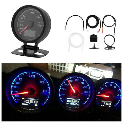 2 In 1 62mm Car Turbo Boost Gauge 7 Light Colors LCD Display With Voltage Meter