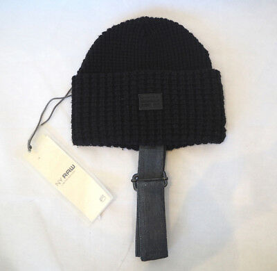 G-STAR GSTAR RAW black chunky knit beanie with chin strap NEW with tags lmtd ed