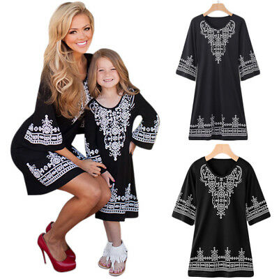 Family Clothes Lady's Mother Daughter Matching Boho Baby Girl Dress Outfits AU