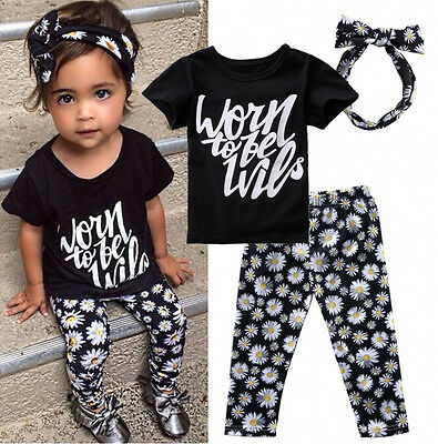 Summer Kids Toddler Girls Outfits Floral T-shirt Tops Pants Clothes Outfits Set