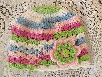 Handmade Crochet Baby Hat in 8 ply wool mix yarn FH601
