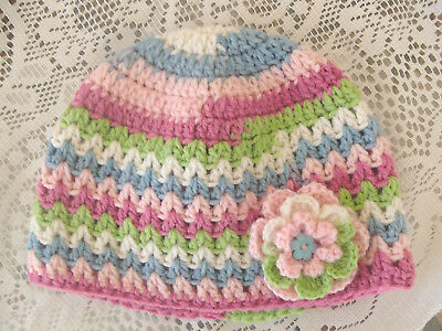 Handmade Crochet Baby Hat in 8 ply wool mix yarn FH602