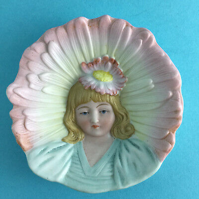 Victorian Bisque Girl & Flower Pin Dish Wall Plaque Antique Doll Collector Decor
