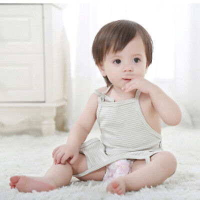 LK_ Stripe Apron Rompers Cotton Baby Bellyband Navel Protection Clothing Relia