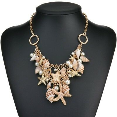 Ocean Sea Shell Faux Pearl Bib Starfish Layered Statement Necklace Jewellery
