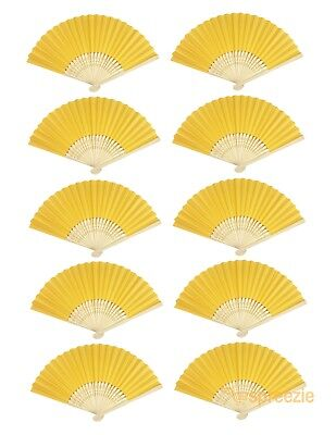 Yellow Paper Hand Fans Bamboo Chinese Folding Pocket Fan Decor Gifts (10 Pack)