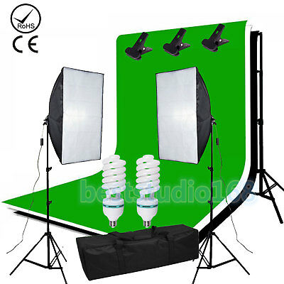 1350W Softbox Photo Video Studio Lighting 3x Backdrop Background Stand Kit