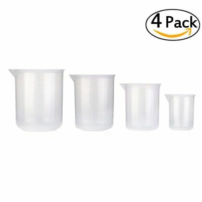 4pcs Measuring Cup Jugs Polypropylene Baking Kitchen Set 50 150 250 500ml