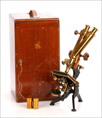 Antique and Large Binocular Microscope. Watson & Sons. England, Circa 1910