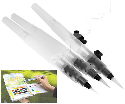 3 Diff Sizes Refillable Pilot Water Brush Ink Pen Paint for Watercolor Drawing