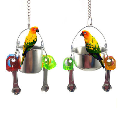 LK_ Birds Parrots Stand Hanging Stainless Steel Food Cup Holder Swing 2 Spoon