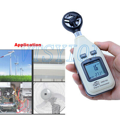 GM816A POCKET ANEMOMETER Digital Wind Speed Meter Air Flow Velocity Tester  Gauge