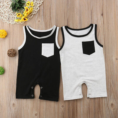 Kids Baby Girl Boy Pocket Sleeveless Vest Romper Sunsuit Jumpsuit Outfit Clothes