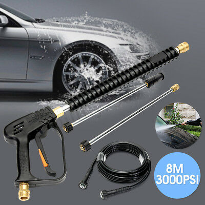 3000PSI High Pressure Spray Gun Wand Lance Water Washer Pump Extend Wand 8M Hose