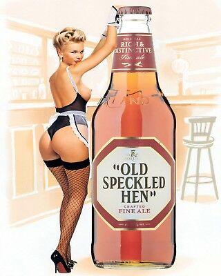 """10 x 8"""" OLD SPECKLED HEN BEER SEXY PIN UP GIRL PUB BAR METAL PLAQUE TIN SIGN 553"""