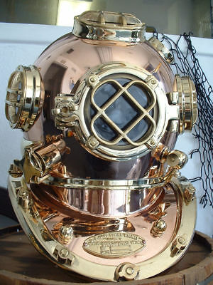 Vintage SOLID COPPER BRASS SCUBA DIVERS DIVING HELMET Deluxe Royal Navy Model
