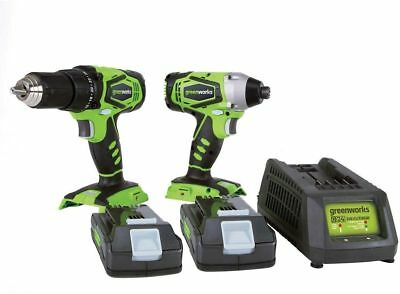 Greenworks 24V Drill Driver and Impact Driver Combo Durable Handheld Power Tools