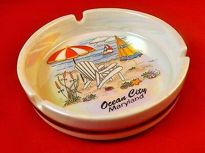 "Collectors 4.75"" inch Beach View Ocean City MD Ashtray Ceramic"