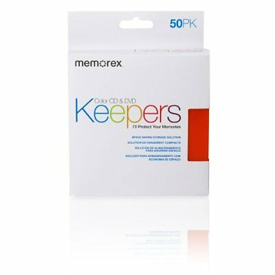 Memorex CD/DVD Keepers Plastic Sleeves 50 Pack Media Cases Wallets Blank Drives