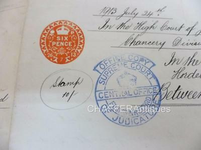 Antique High Court of Justice Cost Order in estate of Anthony Hordern 1913
