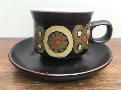Denby Arabesque Teacup & Saucer, 1960's Vintage Pottery, Brown, Gold, Fabulous!