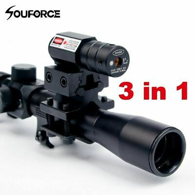 4x20 Rifle Optics Scope Tactical Crossbow Riflescope with Red Dot Laser Sight an