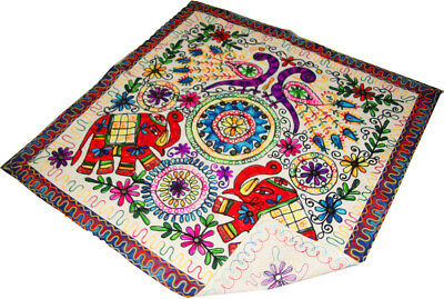 Indian Peacock Embroider Work Square Wall Hanging Table Cloth Table Decor Runner