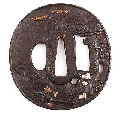 Japanese Tsuba with Copper and Silver Inlay - Tori
