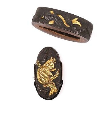 Antique Japanese Fuchikashira with Koi - Fuchi - Kashira