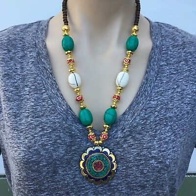 NL-162 Antique Handmade Nepalese Artisan Tibetan Turquoise Conch Shell Necklace