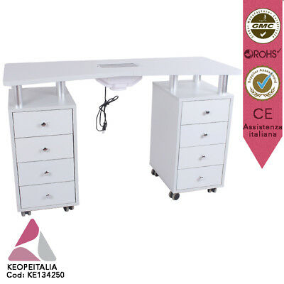 Table Manucure Keope Luxembourg Bois Blanc Aspir 8 Cass 8 Roues Ke-134250