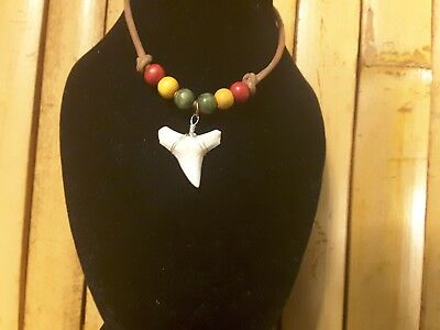 Shark tooth leather necklace