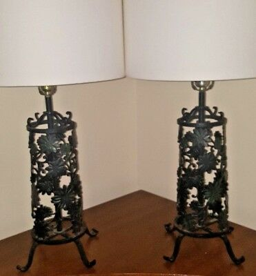 Pair Vintage Mid Century Iron Floral Scroll Work Table Lamps Unique!