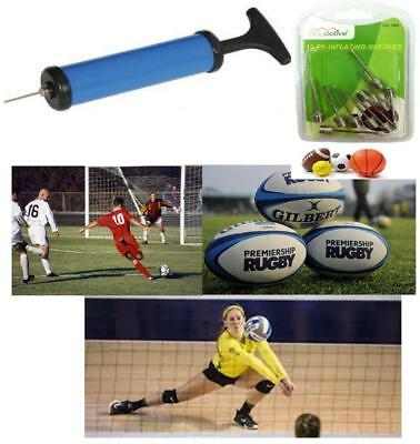 Fast Inflating Hand Air Pump Needle Ball Football Toy Sports + Free 10Pk Needle