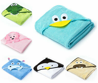Soft Extra Large Baby Kids Toddler Terry Hooded Towel Bathrobe 3D Embroidery NEW