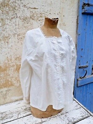 Antique 1900s French Edwardian square collar  handmade lace & embroideries shirt