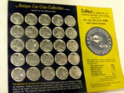 Complete Set 25 Sunoco Antique Car Coins On Card.