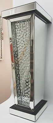 Floating Crystal Silver Mirrored Black Top Pillar Pedestal Sparkly End Table