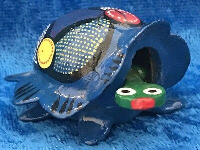 Miniature Bobble Head Turtle Hand Painted Polka Dots Red Yellow Green Blue White