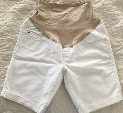 Old Navy Maternity Hello Pretty Mama White Denim Jeans Shorts Sz 4