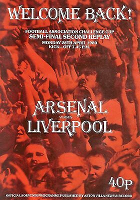 Arsenal v Liverpool - FA Cup Semi-Final 2nd Replay - 28 April 1980