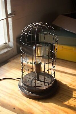 Antique Style Wire Cage Desk Lamp-Aged Brass Finish/Vintage Industrial Desk Lamp
