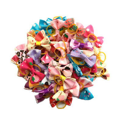10PCS/LOT Puppy Dog Hair Bows Assorted colorful Style Pet rope cat Accessories