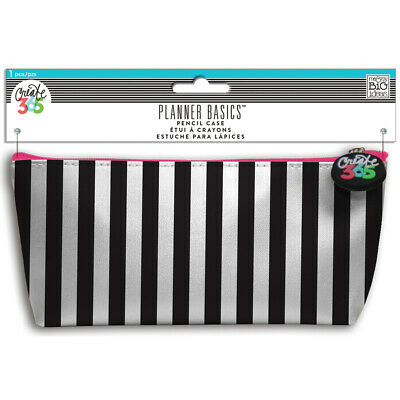 "Me & My Big Ideas Create 365 Happy Planner Pencil Pouch 3.5""X8.25""-Black & White"