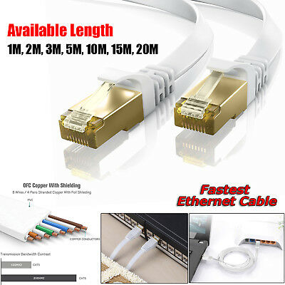 RJ45 CAT7 Ethernet Network SSTP 10 Gbps Patch Lead Thin Flat Cable 1M to 20M Lot