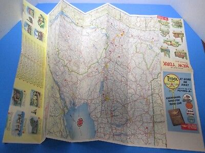Vintage 1950 Tydol Flying Highway Map of New York and Historical Sites S6692