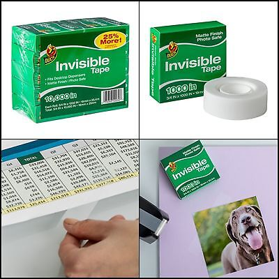 """10 Rolls Invisible Tape Refill for Dispenser, Each 3/4"""" x 1000"""" for 10000"""" Total"""