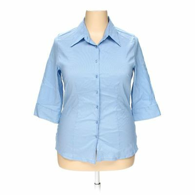 DCC Women's Women's  Button-up Shirt, size 14,  white, light blue,  nylon