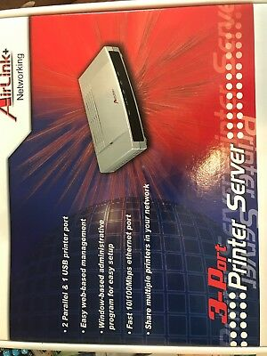 Brand New AirLink 3-Port Printer Server APSUSB2