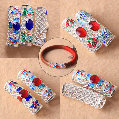 3 Pcs Alloy Enamel Curved Hollow Charm Tubes DIY Bracelet Jewelry Findings